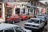Myanmar, Burma, Yangon.  Street Scene outside Scott's Market.