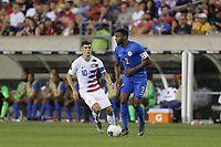 PHILADELPHIA, PENNSYLVANIA - JUNE 30: Christian Pulisic #10, Cuco Martina #2 during the 2019 CONCACAF Gold Cup quarterfinal match between the United States and Curacao at Lincoln Financial Field on June 30, 2019 in Philadelphia, Pennsylvania.