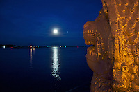 Moonrise over the Tonle and Mekong River and Moonrise Phnom Penh Town Cambodia, Generic