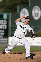 Logan Bawcom #30 of the Everett AquaSox pitches against the Boise Hawks at Everett Memorial Stadium on July 25, 2014 in Everett, Washington. Everett defeated Boise, 3-1. (Larry Goren/Four Seam Images)