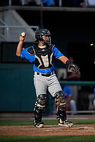 Akron RubberDucks catcher Li-Jen Chu (30) throws back to the pitcher during a game against the Harrisburg Senators on August 18, 2018 at FNB Field in Harrisburg, Pennsylvania.  Akron defeated Harrisburg 5-1.  (Mike Janes/Four Seam Images)