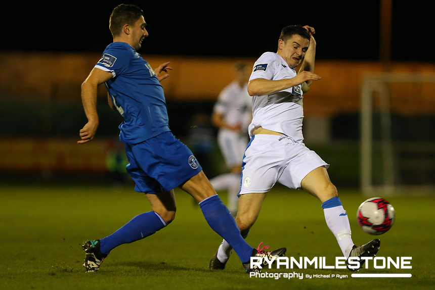 Ciaran Coll of Finn Harps Shaun Kelly of Limerick <br /> during the SSE Airtricity League Promotion / Relegation Play-off Final 2nd leg game between Limerick and Finn Harps on Friday 2nd November 2018 at Markets Field, Limerick. Mandatory Credit: Michael P Ryan.