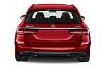 Straight rear view of 2021 Mercedes Benz E-Class 53-AMG 5 Door Wagon Rear View  stock images