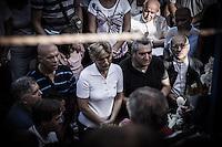 The visionary Mirjana Dragićević moments before the apparition of July 2 at the Blue Cross shrine, Podbro hill.  <br /> Bijakovici, Medjugorje, Bosnia and Herzegovina.