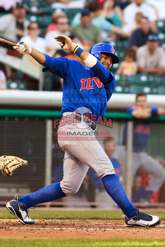 May 18, 2009:  Andres Blanco of the Iowa Cubs, Pacific Cost League Triple A affiliate of the Chicago Cubs, during a game at the Spring Mobile Ballpark in Salt Lake City, UT.  Photo by:  Matthew Sauk/Four Seam Images