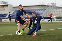 WIENER NEUSTADT, AUSTRIA - MARCH 25: Sebastian Lletget #17 of the United States and Ethan Horvath #22 before a game between Jamaica and USMNT at Stadion Wiener Neustadt on March 25, 2021 in Wiener Neustadt, Austria.