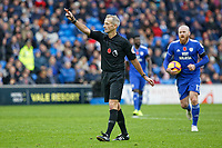 Referee Martin Atkinson awards a free kick for Cardiff during the Premier League match between Cardiff City and Brighton & Hove Albion at the Cardiff City Stadium, Cardiff, Wales, UK. Saturday 10 November 2018
