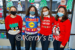 Shona Moore, Tara O'Connor, Adelina Kastrati and Symone Hunt, Presentation Secondary School Tralee students celebrating Christmas Jumper Day on Friday.