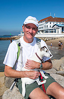 BNPS.co.uk (01202 558833)<br /> Pic: PhilYeomans/BNPS<br /> <br /> Pictured: Protect Sandbanks leader David Morley.<br /> <br /> Over 6,200 letters of objection have been lodged against controversial plans to replace a historic hotel with a 'soulless' block of flats at a millionaire's playground.<br /> <br /> The well-heeled residents of Sandbanks are up in arms about the £250million development which would see the Haven Hotel at the entrance to Poole Harbour in Dorset bulldozed.<br /> <br /> The 141-year-old building is where engineer Guglielmo Marconi established the world's first wireless communications. Under the plans, it would be replaced with a six-storey block of 119 luxury apartments.