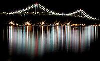The Newport Bridge Lights sparkle like stars on a chilly winter night