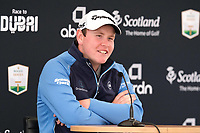 7th July 2021; North Berwick, East Lothian, Scotland;  Robert MacIntyre Scotland holds a press conference,  during practise at the abrdn Scottish Open at The Renaissance Club, North Berwick, Scotland.