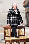 01.10.2012. The Spanish Royal Family, King Juan Carlos, Queen Sofia, Prince Felipe, Princess Letizia and Princess Elena attend the imposition of collective Distinguished Cross San Fernando Al Banner Armored Cavalry Regiment ´Alcántara´ No. 10 in the Royal Palace in Madrid, Spain. In the image Duchess of Badajoz, Princess Pilar de Borbon (Alterphotos/Marta Gonzalez)