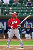 Miguel Hermosillo (10) of the Orem Owlz at bat against the Ogden Raptors in Pioneer League action at Lindquist Field on June 27, 2014 in Ogden, Utah.  (Stephen Smith/Four Seam Images)