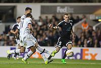 Erik Lamela of Tottenham Hotspur fires a shot at goal during the UEFA Europa League match between Tottenham Hotspur and Qarabag FK at White Hart Lane, London, England on 17 September 2015. Photo by Andy Rowland.