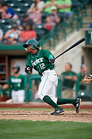 Fort Wayne TinCaps second baseman Esteury Ruiz (12) follows through on a swing during a game against the West Michigan Whitecaps on May 17, 2018 at Parkview Field in Fort Wayne, Indiana.  Fort Wayne defeated West Michigan 7-3.  (Mike Janes/Four Seam Images)