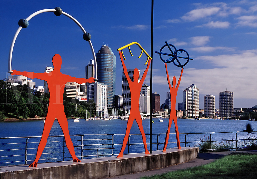 Daytime view of skyline and art sculpture along Brisbane River Brisbane Australia.