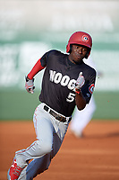 Chattanooga Lookouts shortstop Nick Gordon (5) runs the bases during a game against the Jackson Generals on April 29, 2017 at The Ballpark at Jackson in Jackson, Tennessee.  Jackson defeated Chattanooga 7-4.  (Mike Janes/Four Seam Images)