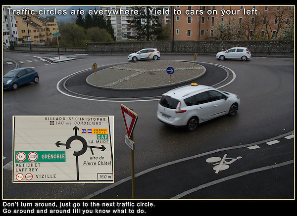 Driving in Europe. Traffic Circles.<br /> Whereas drivers in the US are just becoming familiar with traffic circles, they're far more common that traffic lights over there. This means you yield to traffic on your left and don't forget it. If you're still trying to figure out where you're headed, just drive around a few more times or drive on to the next traffic circle to turn around.