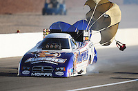 Mar. 31, 2012; Las Vegas, NV, USA: NHRA funny car driver Matt Hagan during qualifying for the Summitracing.com Nationals at The Strip in Las Vegas. Mandatory Credit: Mark J. Rebilas-