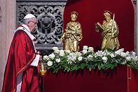 Pope Francis Saint Peter and Saint Paul in Saint Peter's square at the Vatican.June 29,2018