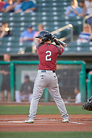 Joey Rickard (2) of the Sacramento River Cats at bat against the Salt Lake Bees at Smith's Ballpark on July 18, 2019 in Salt Lake City, Utah. The Bees defeated the River Cats 9-6. (Stephen Smith/Four Seam Images)