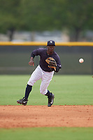 New York Yankees Sincere Smith (6) during a Minor League Spring Training game against the Atlanta Braves on March 12, 2019 at New York Yankees Minor League Complex in Tampa, Florida.  (Mike Janes/Four Seam Images)