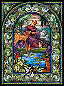 Randy, EASTER RELIGIOUS, OSTERN RELIGIÖS, PASCUA RELIGIOSA, paintings+++++SG-St-Francis-rectangle,USRW176,#ER# church window,stained glass