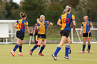 Upminster celebrate their second goal during Upminster celebrate their first goal during Upminster HC Ladies vs Wapping HC Ladies 2nd XI, East Region League Field Hockey at the Coopers Company and Coborn School on 10th October 2020