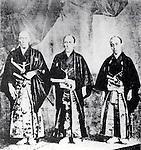 1860 - The Japanese Embassy to the United States, (L to R) Ambassador Shinmi Masaoki, Vice-Ambassador Muragaki Norimasa, and Observer Oguri Tadamasa. They ratified Treaty of Amity and Commerce between United States to Japan. (Photo by Kingendai Photo Library/AFLO)