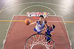 Lu Yu Hui (R) of Taiwan plays against Ku (L) of Taiwan during the Red Bull King of the Rock National Finals at Kaohsiung University basketball court, Kaohsiung, Taiwan, on July 18th 2015.