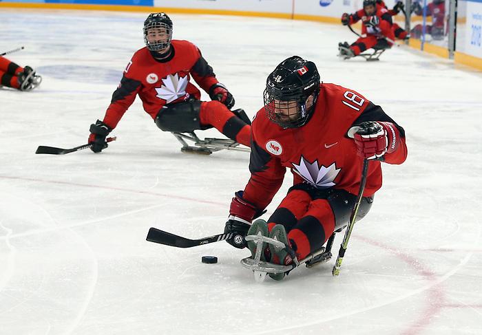 Billy Bridges, PyeongChang 2018 - Para Ice Hockey //  Para-hockey sur glace.<br /> Canada plays Sweden in Para Ice Hockey // Le Canada affronte la Suède en para hockey sur glace. 10/03/2018.
