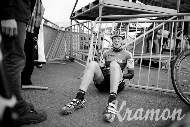 an exhausted Katrien Thijs (BEL) after finishing<br /> <br /> Koksijde CX World Cup 2014