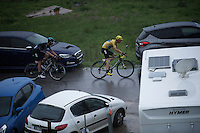 Chris Froome (GBR/SKY) shadowed by Wout Poels (NLD/SKY) just came over the top of the Col de Joux Plane (HC/1691m/11.6km/8.5%) and now must (simply) safely descend to consolidate his 3rd Tour de France overall win.<br /> <br /> Stage 20: Megève › Morzine (146.5km)<br /> 103rd Tour de France 2016