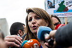 Yolanda Diaz of Podemos accompanies the workers of the company Navantia, during the protest in the headquarters of the Sepi in Madrid, Spain. March 14, 2017. (ALTERPHOTOS / Rodrigo Jimenez)