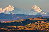 Mt Hess and Deborah, (left to right), prominent peaks in the Alaska Range mountains, Interior, Alaska.