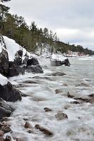 A view the Lake Superior shoreline during the winter. Marquette, MI