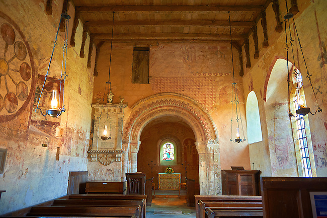 Aisle of the Romanesque of the Norman Church of St Mary's Kempley Gloucestershire, England, Europe