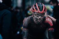 Pim Ronhaar (NED/Pauwels Sauzen-Bingoal) after finishing this muddy race<br /> <br /> UCI cyclo-cross World Cup Dendermonde 2020 (BEL)<br /> <br /> ©kramon