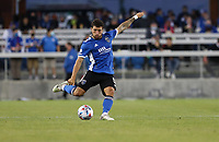 SAN JOSE, CA - MAY 15: Eric Remedi #5 of the San Jose Earthquakes takes a shot during a game between Portland Timbers and San Jose Earthquakes at PayPal Park on May 15, 2021 in San Jose, California.