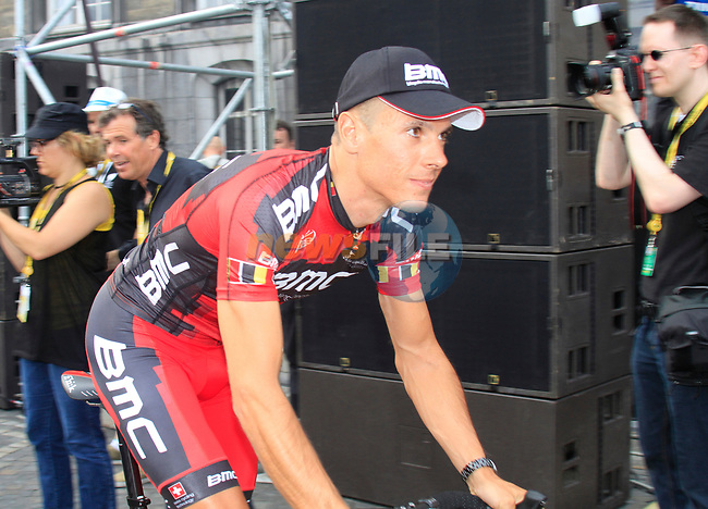 Philippe Gilbert (BEL) BMC Racing Team at the Team Presentation Ceremony before the 2012 Tour de France in front of The Palais Provincial, Place Saint-Lambert, Liege, Belgium. 28th June 2012.<br /> (Photo by Eoin Clarke/NEWSFILE)