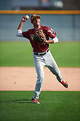 Nicholas Martinez (4) of Pembroke Pines Charter HS High School in Pembroke Pines, Florida during the Under Armour All-American Pre-Season Tournament presented by Baseball Factory on January 14, 2017 at Sloan Park in Mesa, Arizona.  (Mike Janes/Mike Janes Photography)