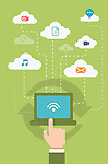 Illustrative image of businessman's hand using laptop representing cloud computing