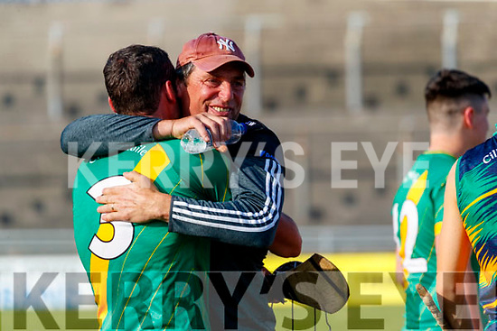 Colman Savage, and Joe Walsh Kilmoyley players celebrate after winning the Kerry County Senior Hurling Championship Final match between Kilmoyley and Causeway at Austin Stack Park in Tralee