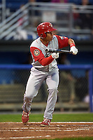 Williamsport Crosscutters third baseman Jan Hernandez (12) squares to bunt during a game against the Batavia Muckdogs on August 27, 2015 at Dwyer Stadium in Batavia, New York.  Batavia defeated Williamsport 3-2.  (Mike Janes/Four Seam Images)