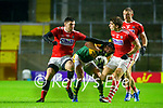 David Moran, Kerry in action against Luke Connolly, Cork, and Ian MaGuire, Cork, during the Munster GAA Football Senior Championship Semi-Final match between Cork and Kerry at Páirc Uí Chaoimh in Cork.