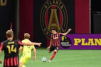 ATLANTA, GA - AUGUST 22: Fernando Meza #6 kicks the ball during a game between Nashville SC and Atlanta United FC at Mercedes-Benz Stadium on August 22, 2020 in Atlanta, Georgia.