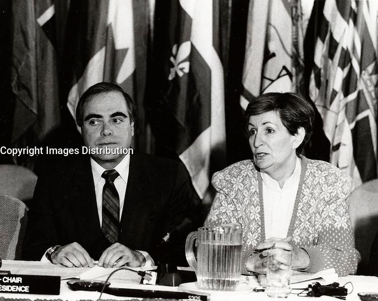 Montreal (QC) CANADA file photo - Feb 1986 - Marcel Masse (L), Lise Bacon (R)