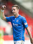 St Johnstone v Aberdeen...23.08.14  SPFL<br /> Birthday boy Steven MacLean celebrates at full time<br /> Picture by Graeme Hart.<br /> Copyright Perthshire Picture Agency<br /> Tel: 01738 623350  Mobile: 07990 594431