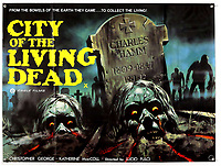 BNPS.co.uk (01202) 558833. <br /> Pic: Ewbank'sAuctions/BNPS<br /> <br /> Pictured: This poster for City of the Living Dead sold for £950. <br /> <br /> A selection of classic horror and sci-fi film posters have sold for £85,000.<br /> <br /> The marquee lot was a British quad 30ins by 40ins poster for Forbidden Planet which fetched £12,000, three times its estimate.<br /> <br /> It features the memorable first image of Robby the Robot holding a damsel in distress.<br /> <br /> A poster promoting the Christopher Lee film Dr Terror's House of Horrors (1965) also outperformed expectations, selling for £2,750, while one advertising the first Star Wars film (1977) fetched £4,750.<br /> <br /> The posters, which were consigned by different collectors, sparked a bidding war with Ewbank's Auctions, of Woking, Surrey.