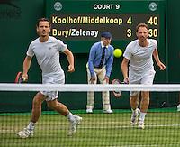 London, England, 30 june, 2016, Tennis, Wimbledon, Men's doubles: Matwe Middelkoop (NED) and his partner Wesley Koolhof  (NED) (L)<br /> Photo: Henk Koster/tennisimages.com